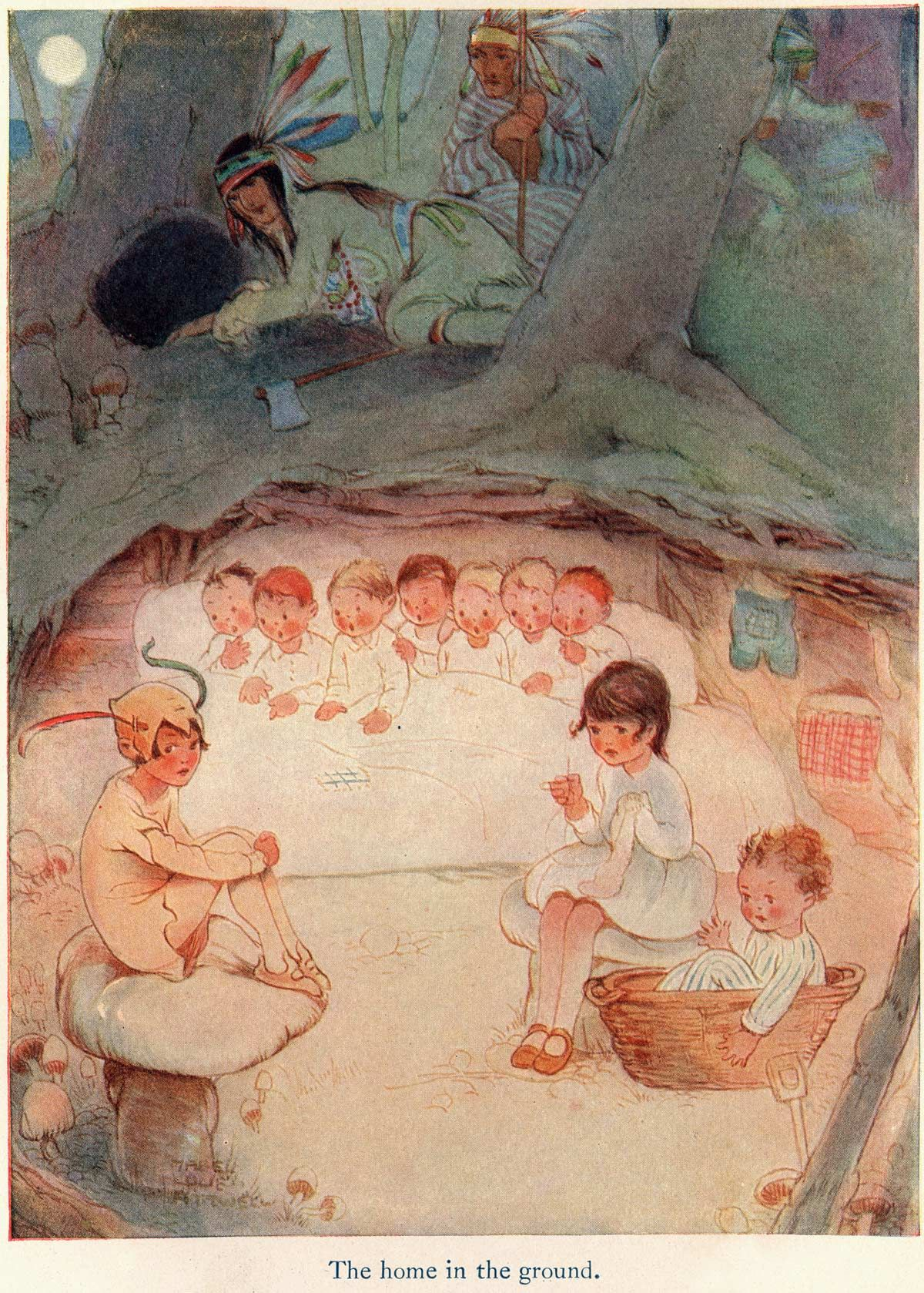 Mabel Lucie Attwell illustration of Peter Pan and Wendy