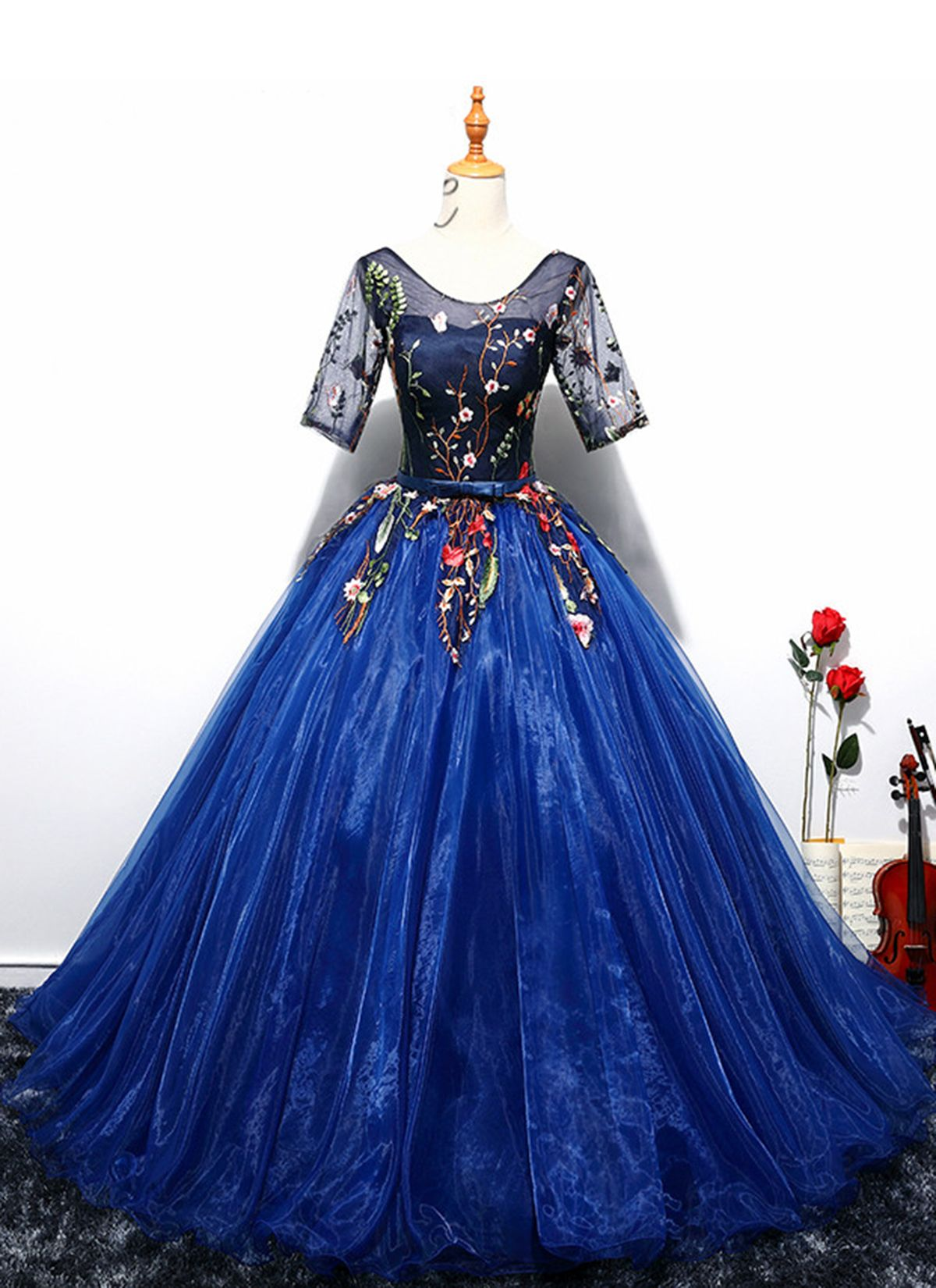 Royal blue puffy flower formal long evening dress prom gown wedding