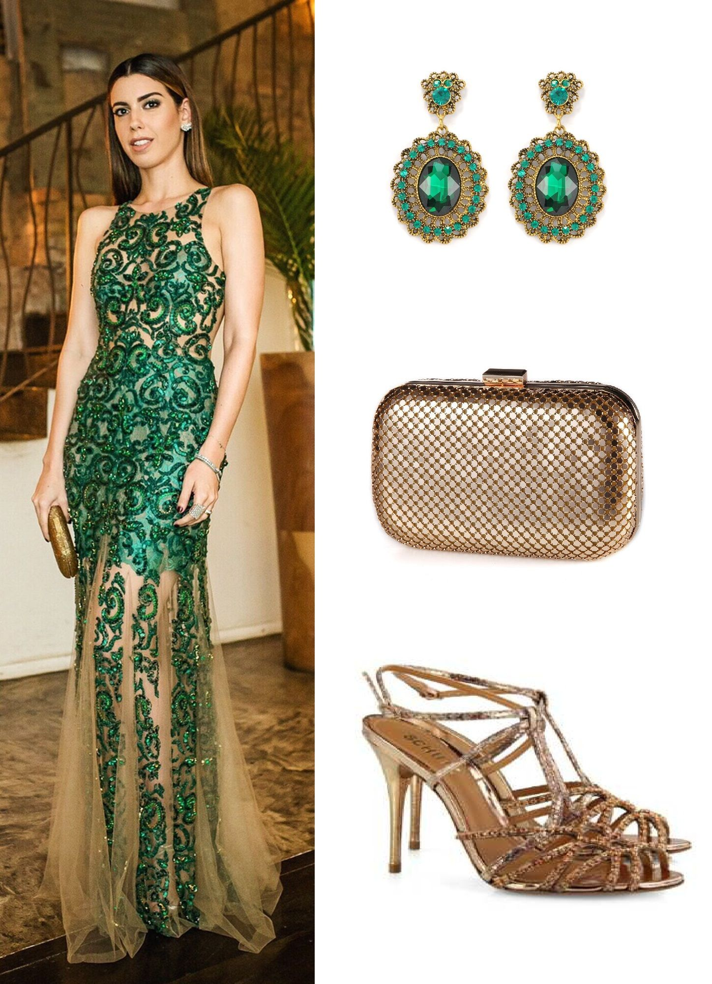 Vestido verde tiffany sapato
