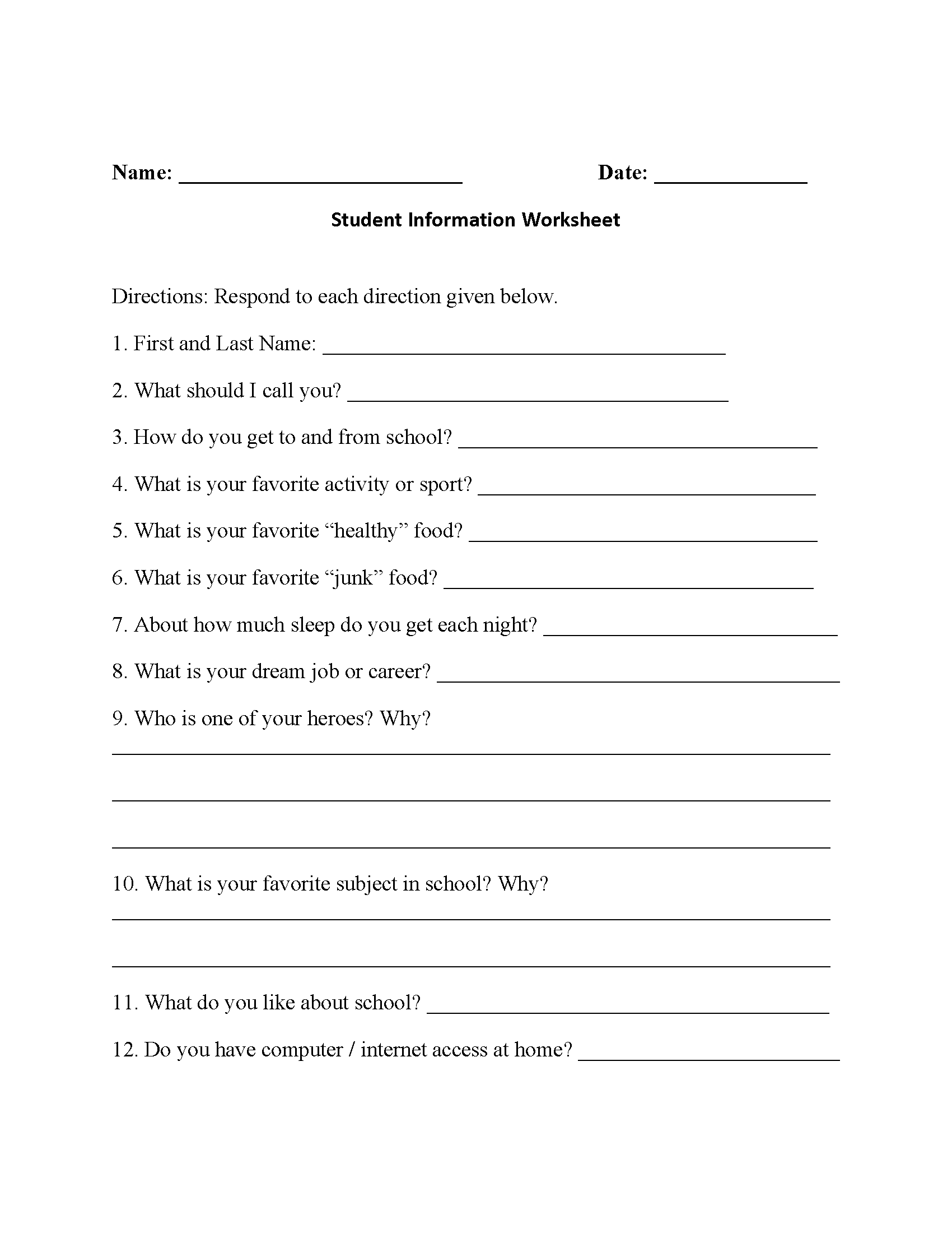 Student Information Back To School Worksheets