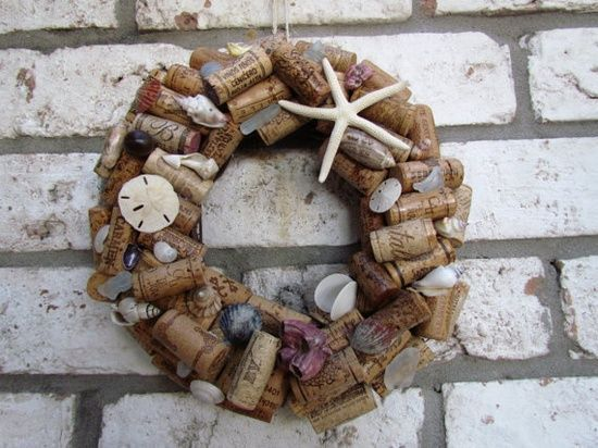 wine cork crafts | Wine Cork Ornaments | Wine Cork Crafts / Wine Cork and Shell Wreath by ...