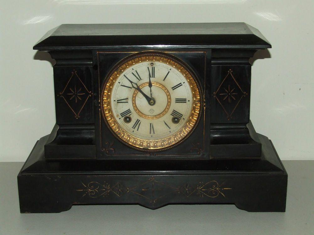 Antique 1882 Ansonia Black Iron Victorian Mantel Shelf Clock