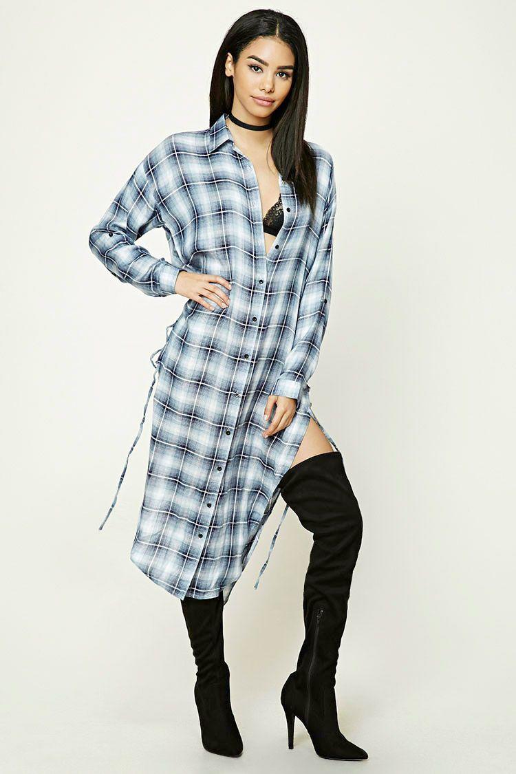 Longline Plaid Shirt Dress | Forever 21 | Pinterest | Plaid shirt ...