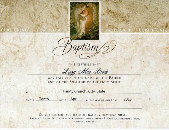 Adult Baptism Certificate Template  Church