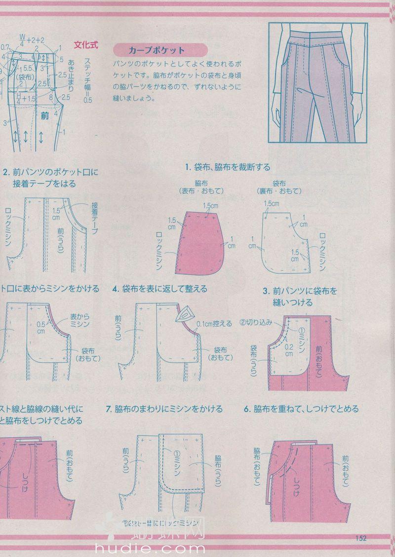 Lady Boutique 2014-04 p152 Pants Front Slash Pockets   Sewing ...