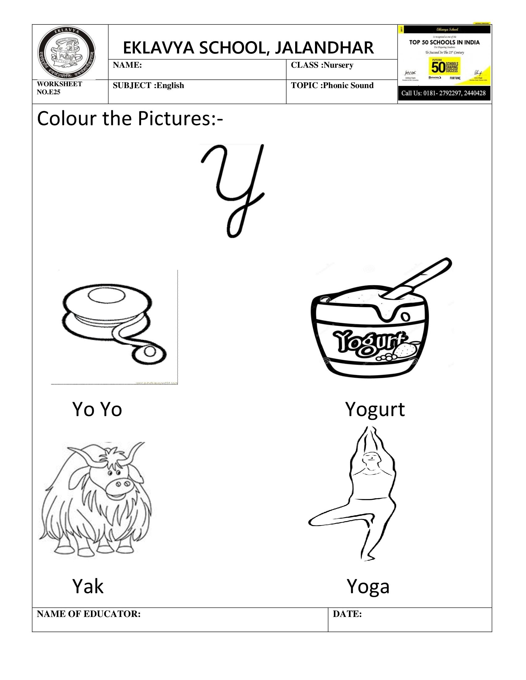 Worksheet On Phonic Sound Y
