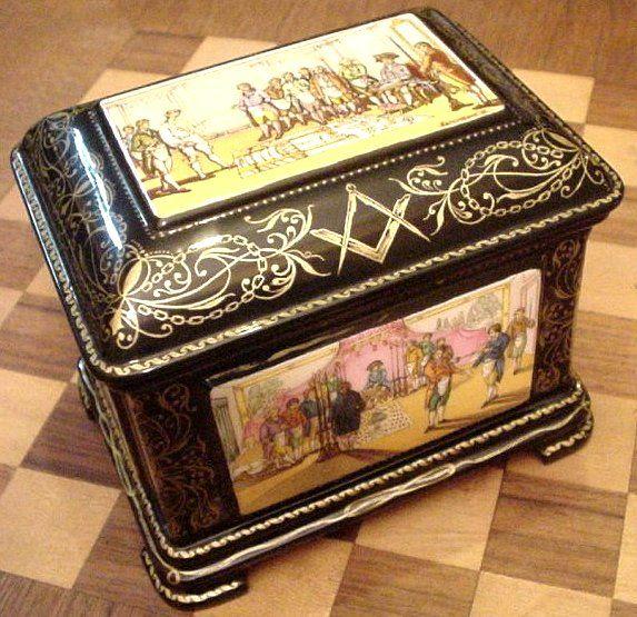 French Masonic Decorated Jewelry BoxCasket from phoenixmasonryorg