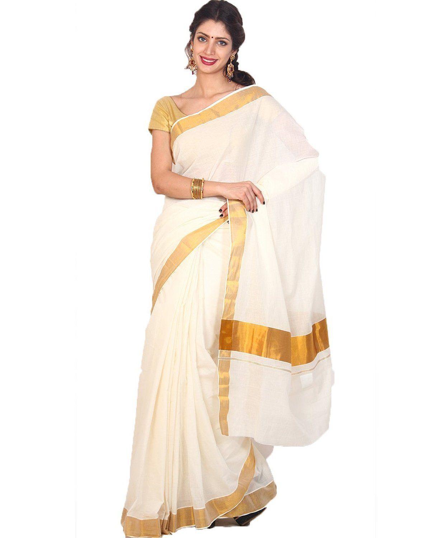 18f444e6534d4e Samskruti Sarees Cotton Saree with Blouse (SKKCS-1_White): Amazon.in:  Clothing…