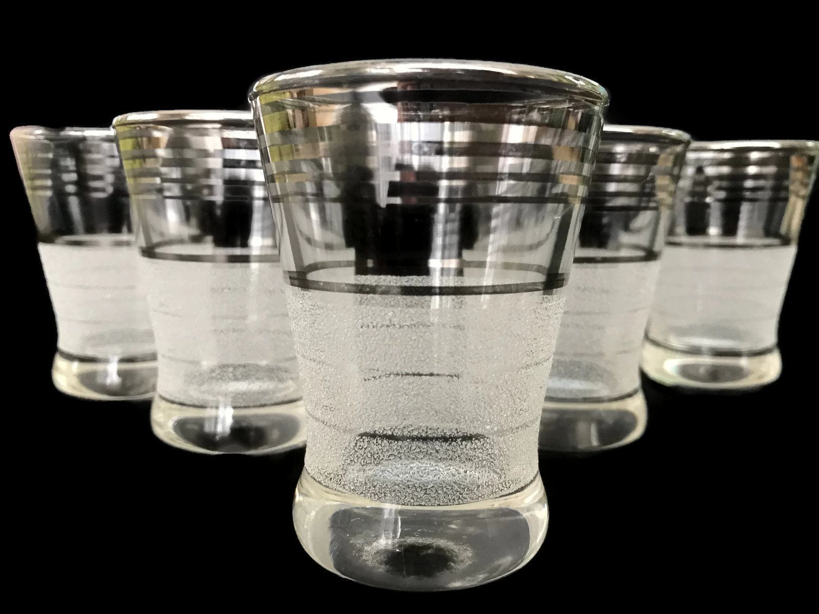 #Vintage Shot Glasses Silver Bands And Frosted Glass Platinum Bands Vintage  Barware Set Of 5