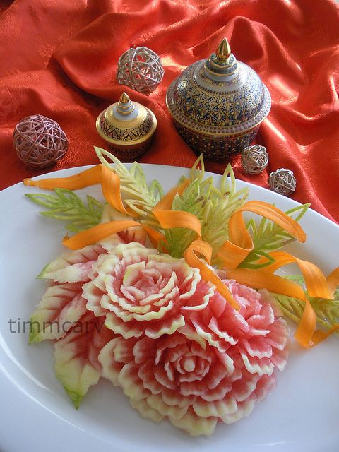 Holiday melon carving in fruit vegetable art