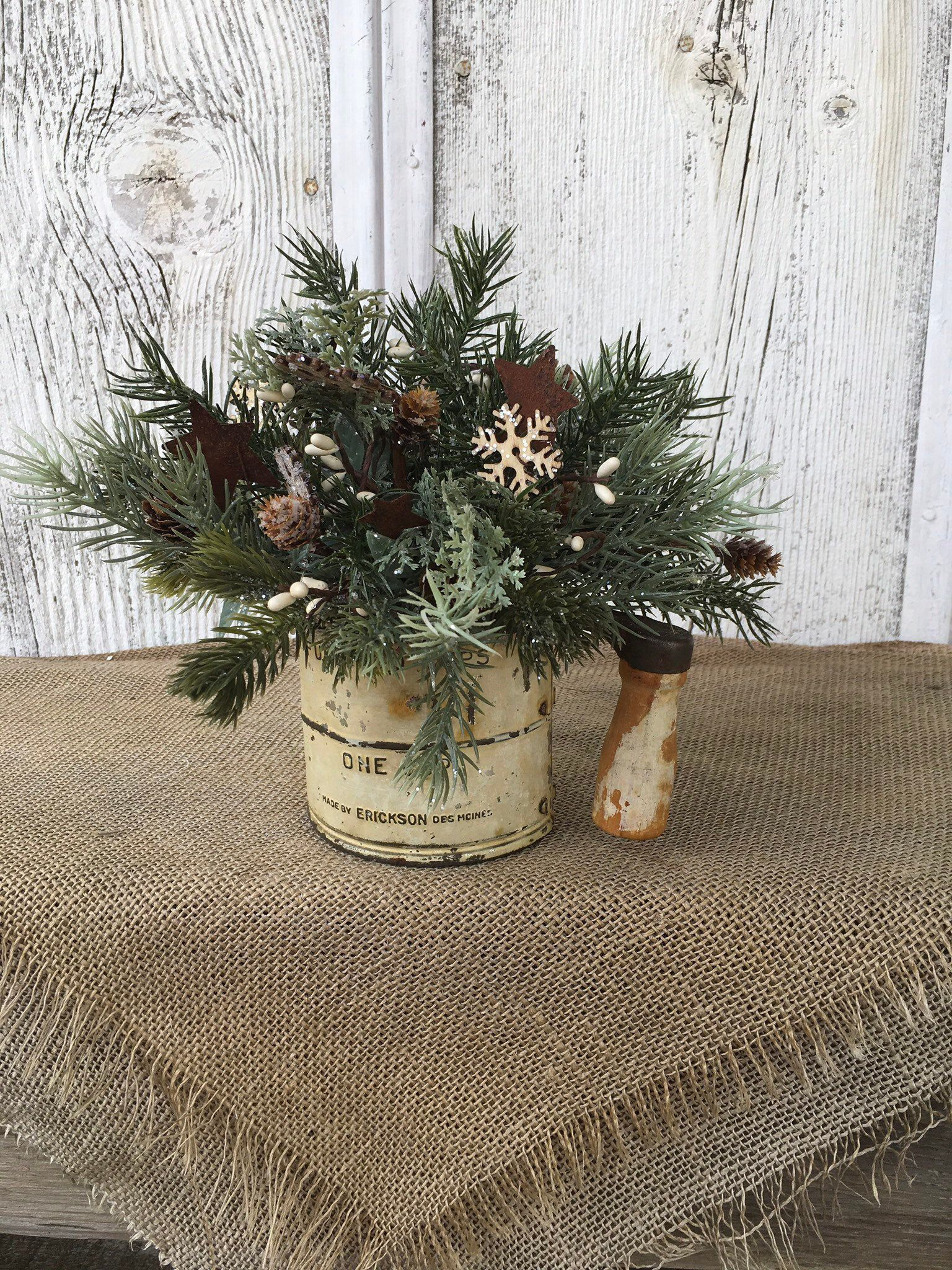 Vintage sifter winter floral arrangement from my  shop: Primitive Tin Vintage Two Cup Sifter Winter