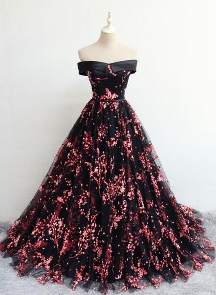 Elegant Black Floral Tulle Lace-up Party Dress, Black Formal Dress 2020