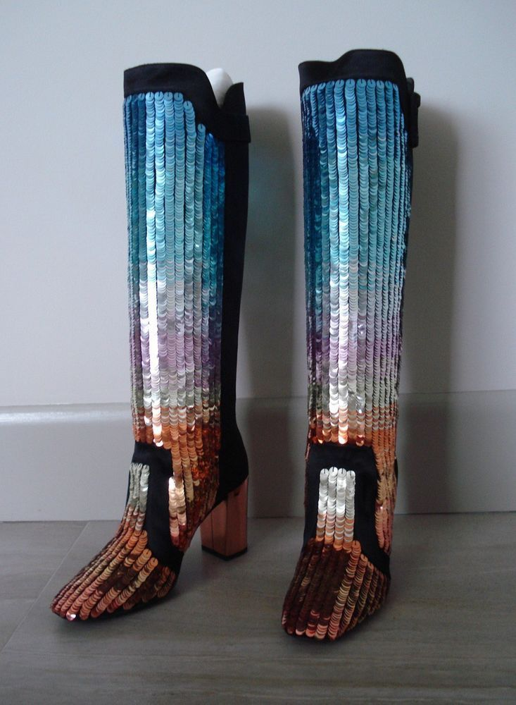 NWB*ROGER VIVIER Paris*Black Satin*DISCO DEGRADE boots*Size 36.5 #RogerVivier #FashionKnee