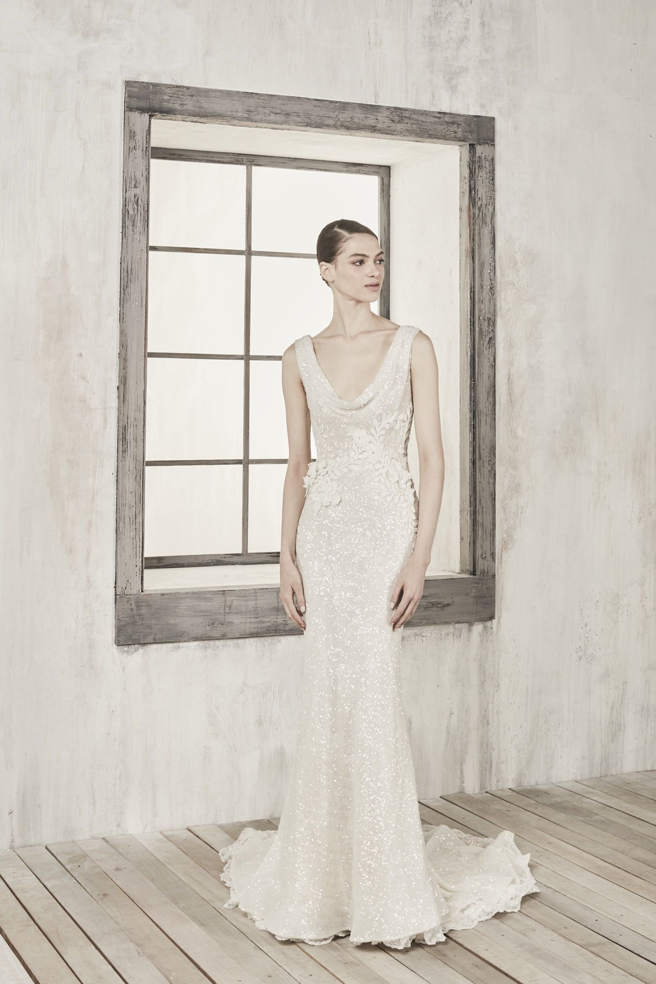 Annasul Y 2019 Bridal Collection Gracia Gown Scoop Neck Mermaid Wedding Dress Made Entirely From Sequin Fabric With Draped Neckline And Beaded Flowers: Y Vintage Mermaid Wedding Dress At Websimilar.org