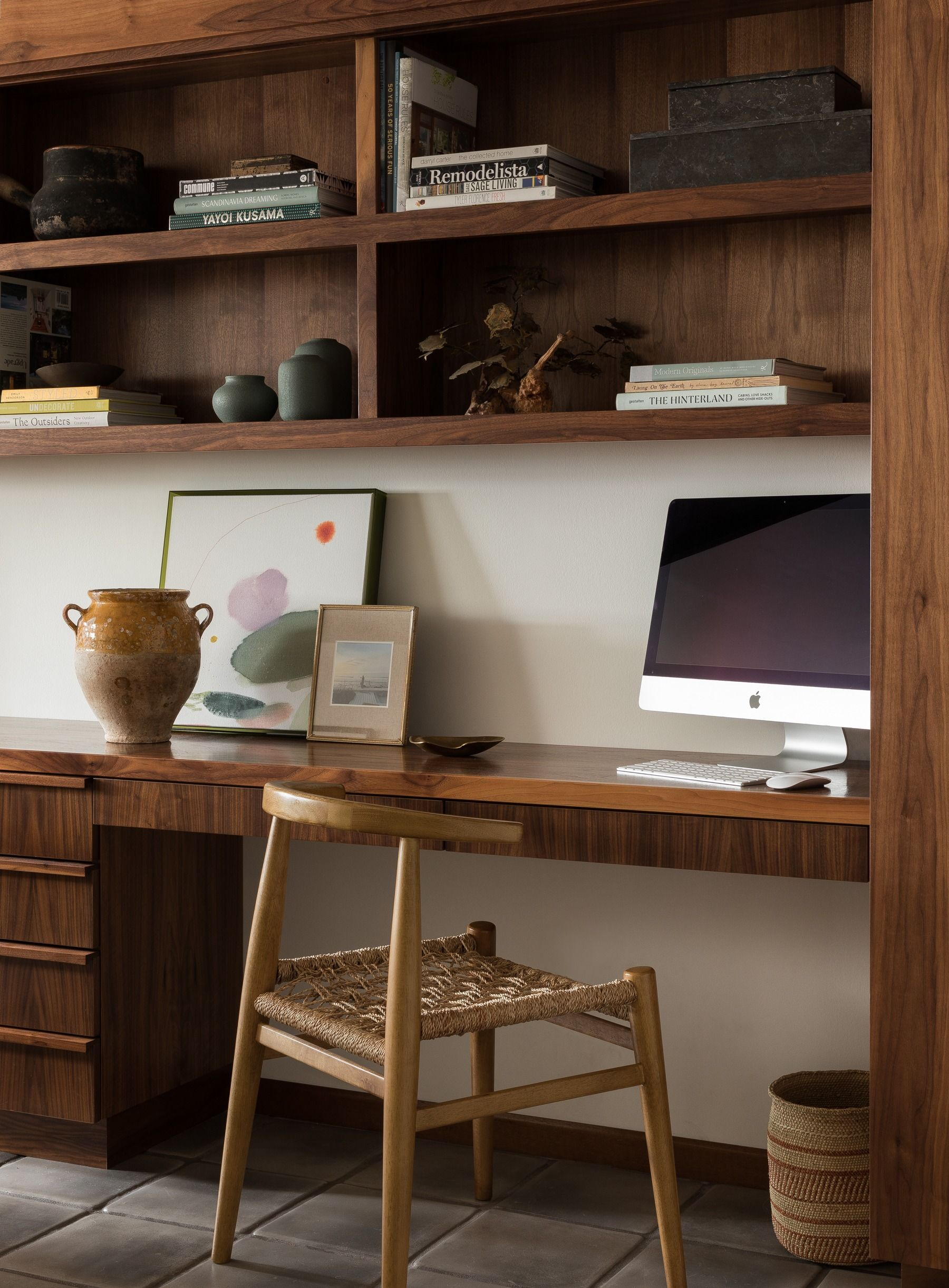 Amazing Wood Stained Built Ins In The Home Office Built In Desk