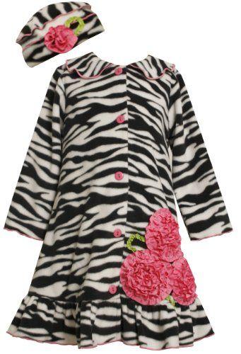 Bonnie Jean Girls 2-6X Zebra Print Winter Fleece Coat Set: Amazon.com: Clothing
