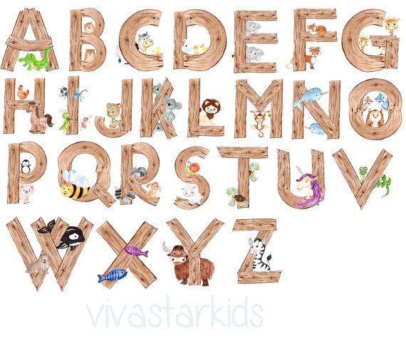 Animal Alphabet Clipart Zoo Alphabet Wood Alphabet Animal