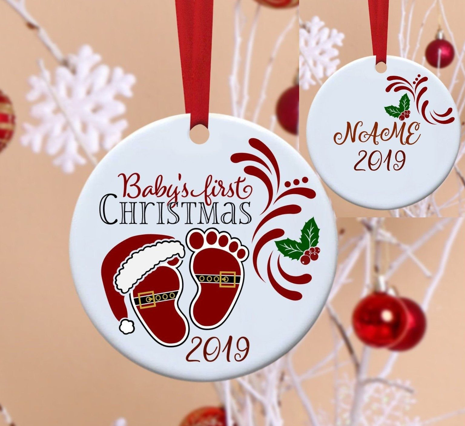 Baby S First Christmas Baby S 1st Christmas 1st Etsy In 2021 Christmas Ornaments To Make Babys 1st Christmas Cricut Christmas Ideas