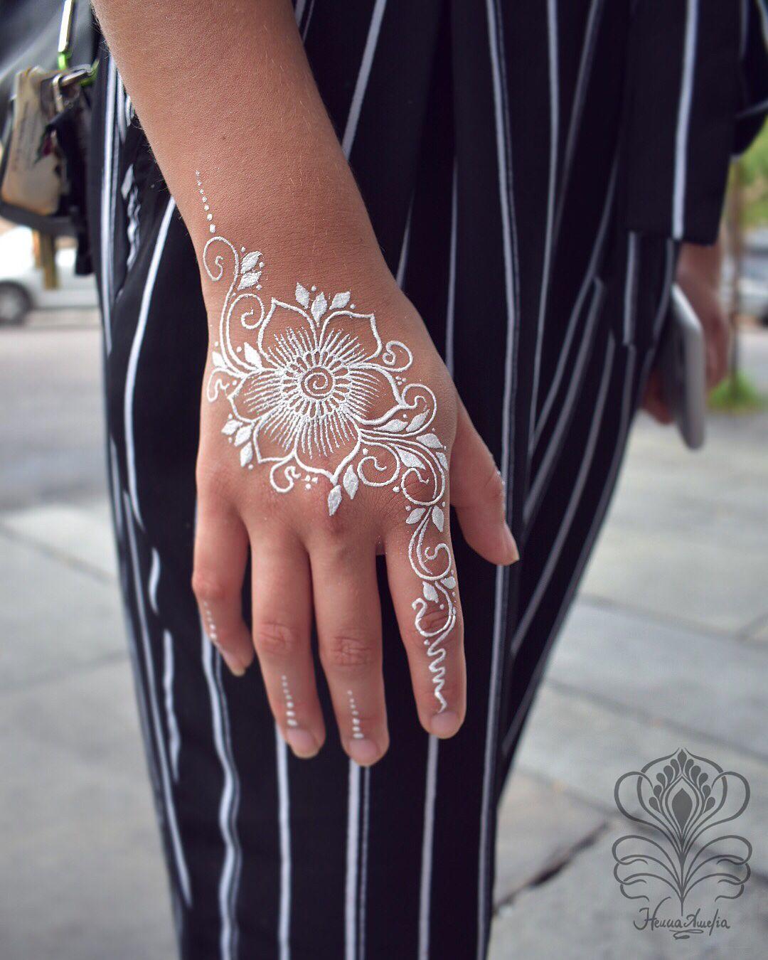 White Waterproof Body Paint Known As White Henna It Has Glitter