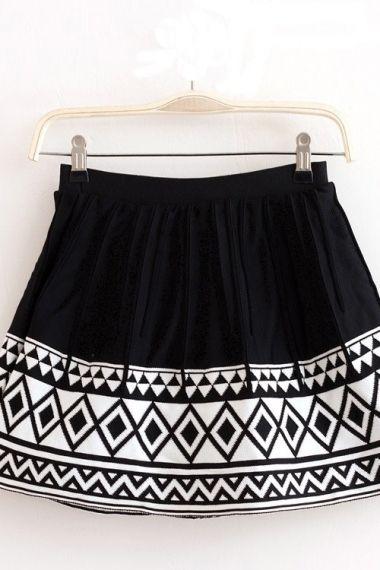 Black and White Geometric Skirt