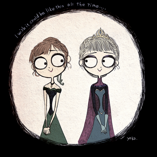 Characters From Disney's 'Frozen' Illustrated in the Dark Style of Tim Burton- My two favorite things