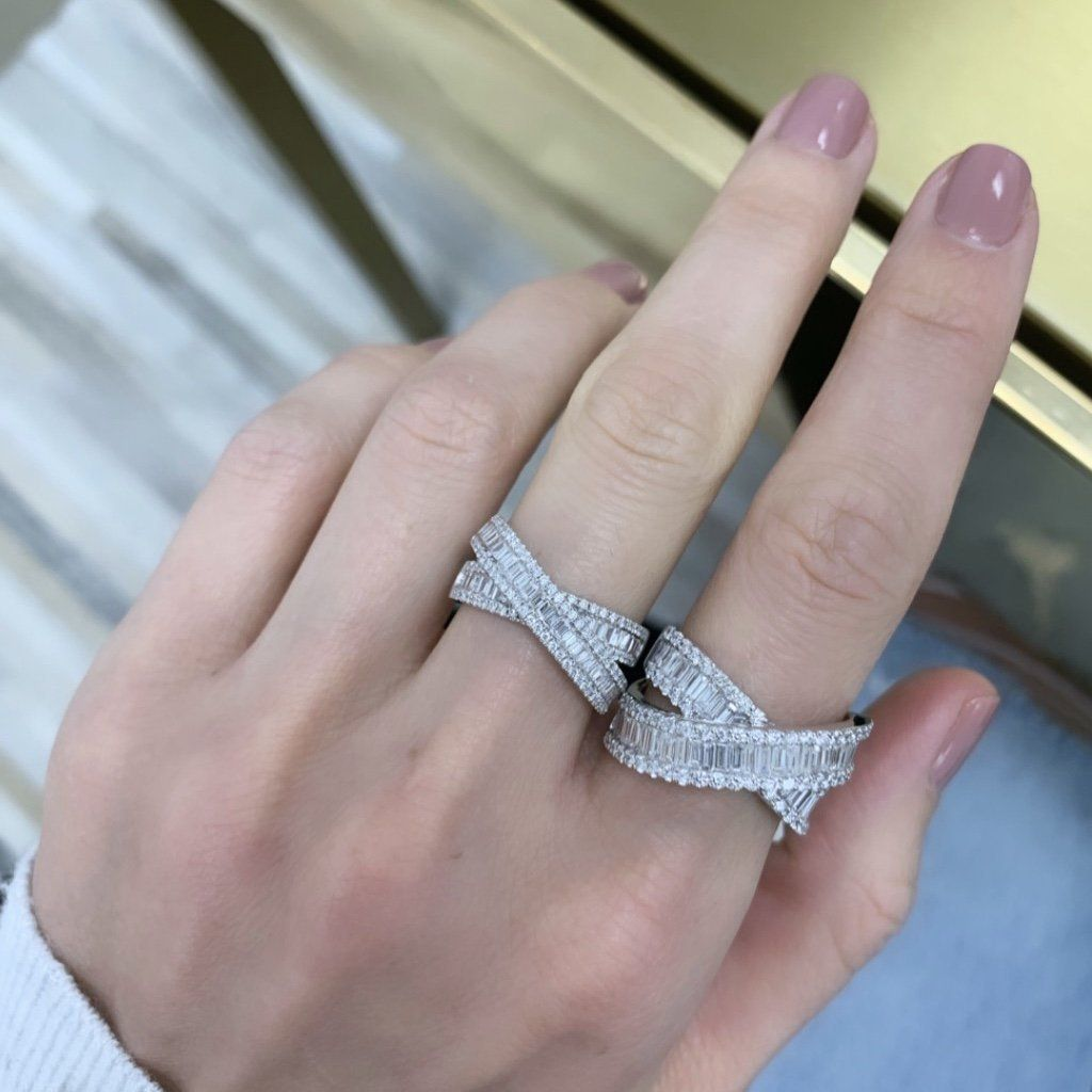 Petite Baguette Crossover Ring Diamond Wedding Bands Diamond