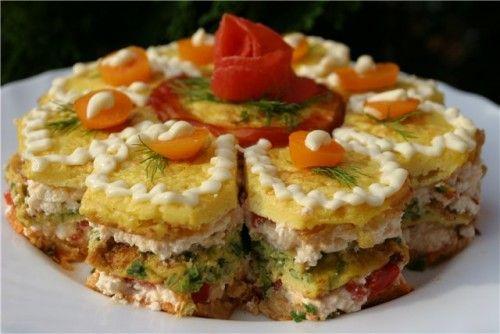 Порционный новогодний закусочный торт с сыром - пошаговый ...