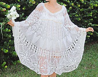 Vintage Crochet Dress - Lace Angel Wing Kaftan White