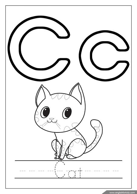 Alphabet coloring page, letter c coloring, c is for cat