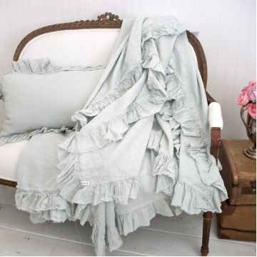 Vintage Ruffle Linen Throw $185