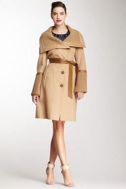 Leather Trim Wool Coat on HauteLook