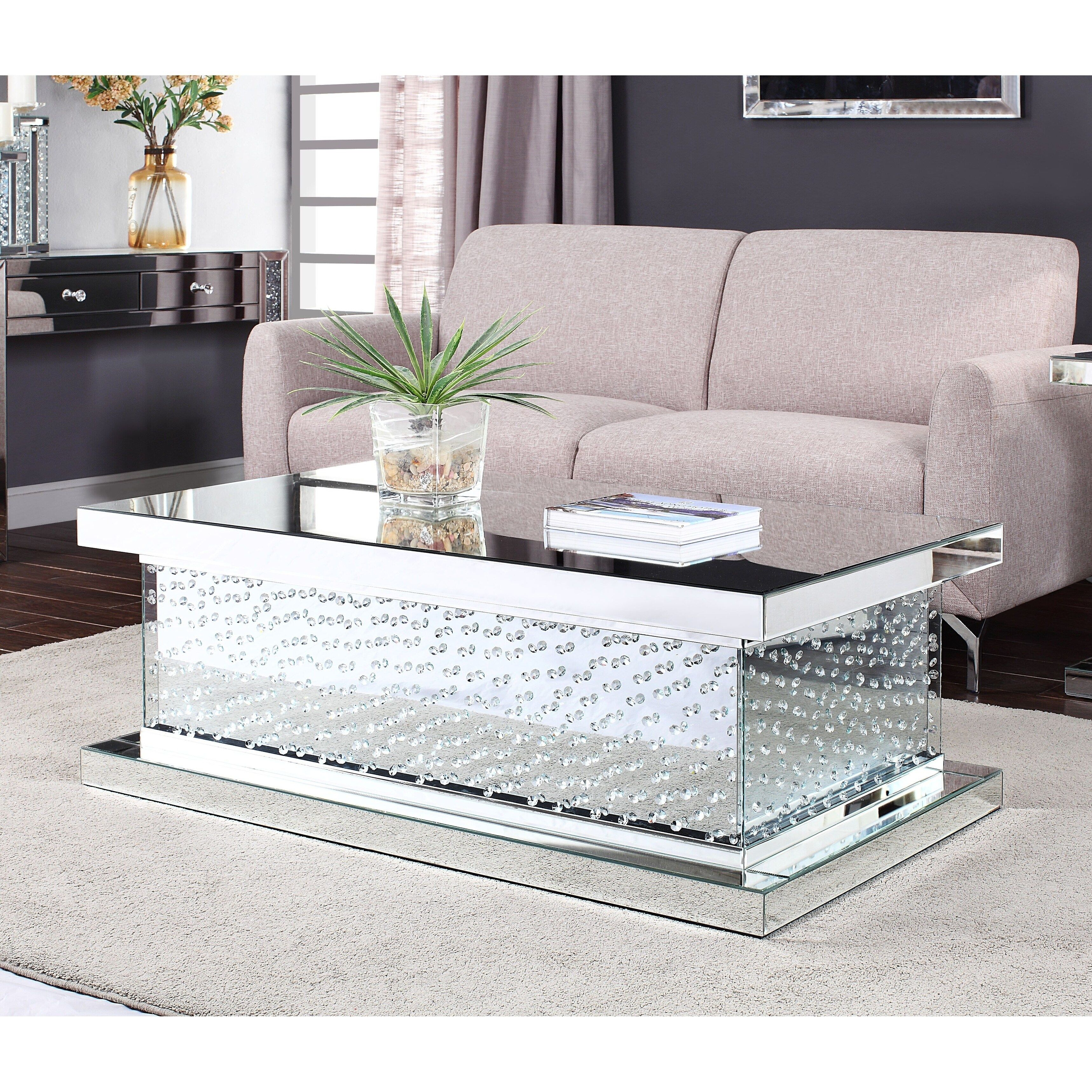 Floating Crystals Mirrored Coffee Table Decorated With Glass Crystals Thisbbeautiful Item Is Made Contemporary Console Table Contemporary Console Coffee Table [ 1500 x 1125 Pixel ]