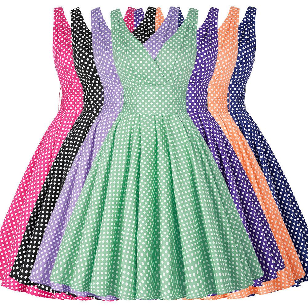Vintage s s polka dots evening dresses sleeveless party evening