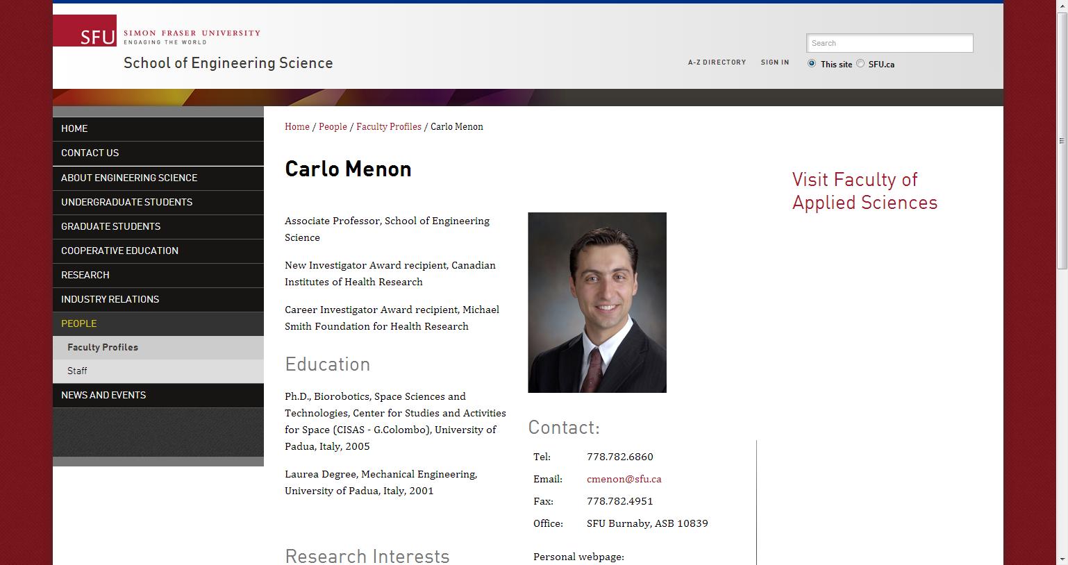 Carlo Menon - School of Engineering Science - Simon Fraser University