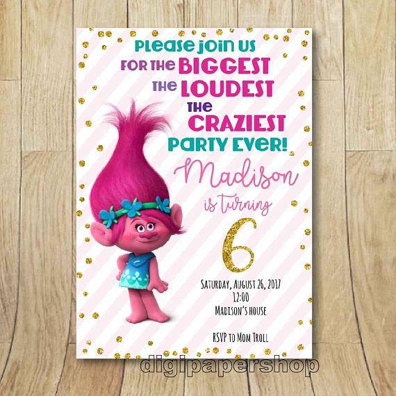 trolls birthday party printable invitation poppy trolls trolls