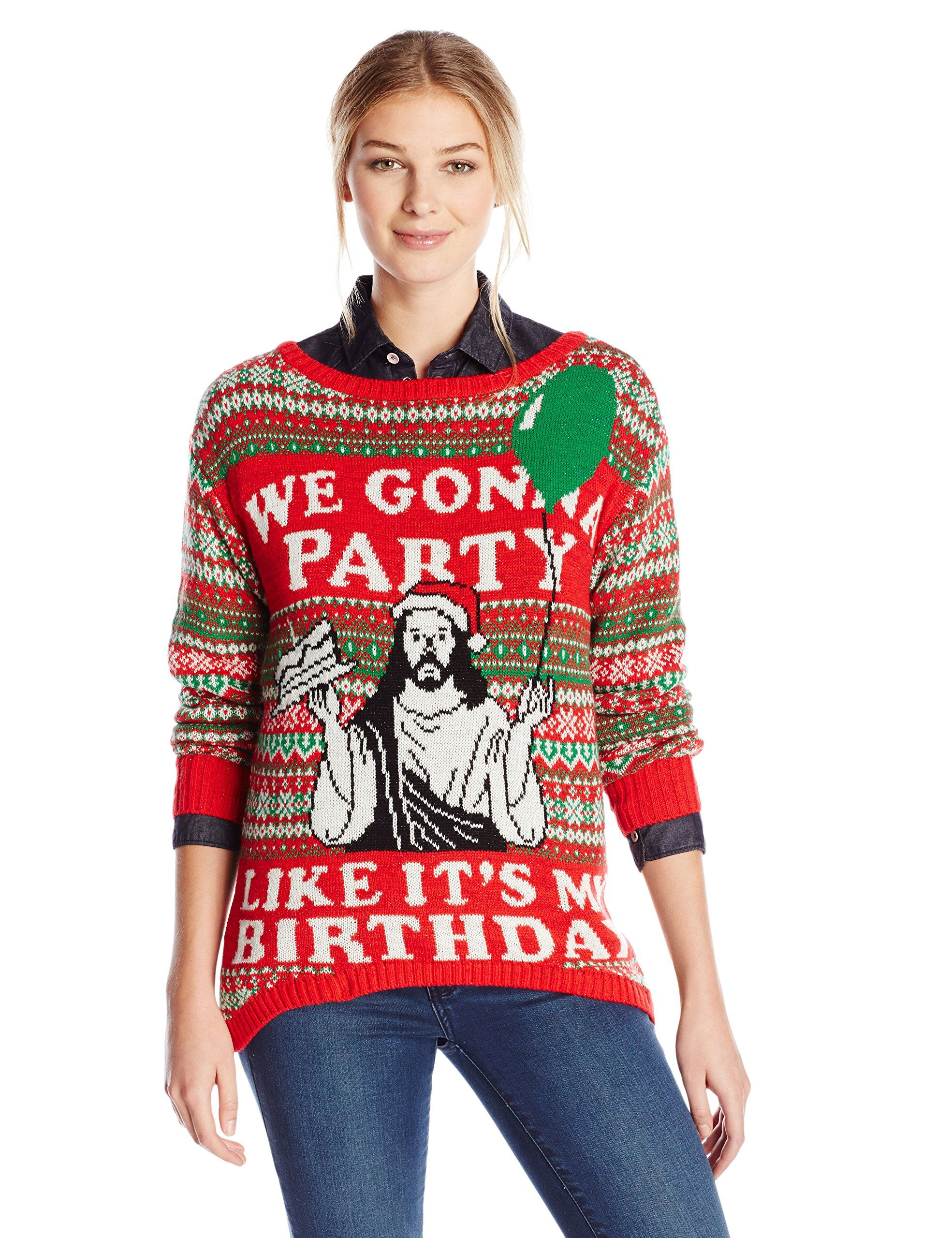 76cc01cf3b Isabella's Closet Women's We're Gonna Party Like It's My Birthday Jesus  Sweater, Red, Small