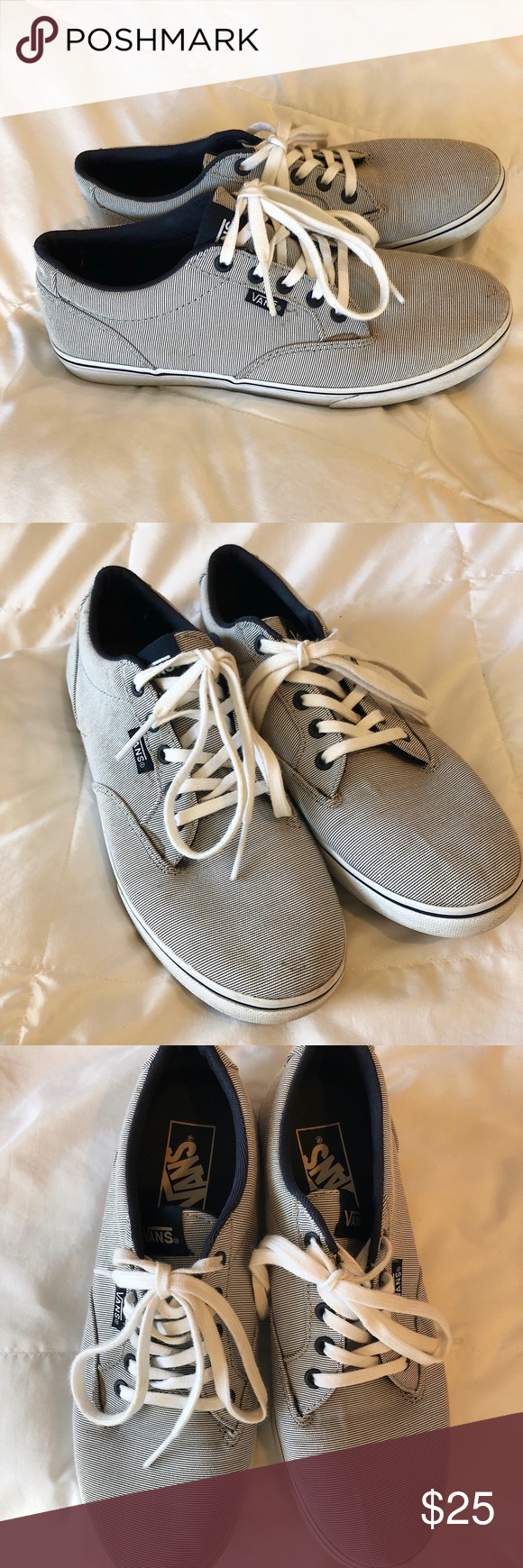 a131a04bed Vans women s Atwood low skate shoe Grey and white stripes. Currently out of  stock on the vans website. Used condition. The shoes are dirty (as shown in  ...