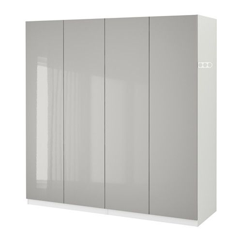 PAX Wardrobe, white, Fardal high-gloss light gray Pax wardrobe