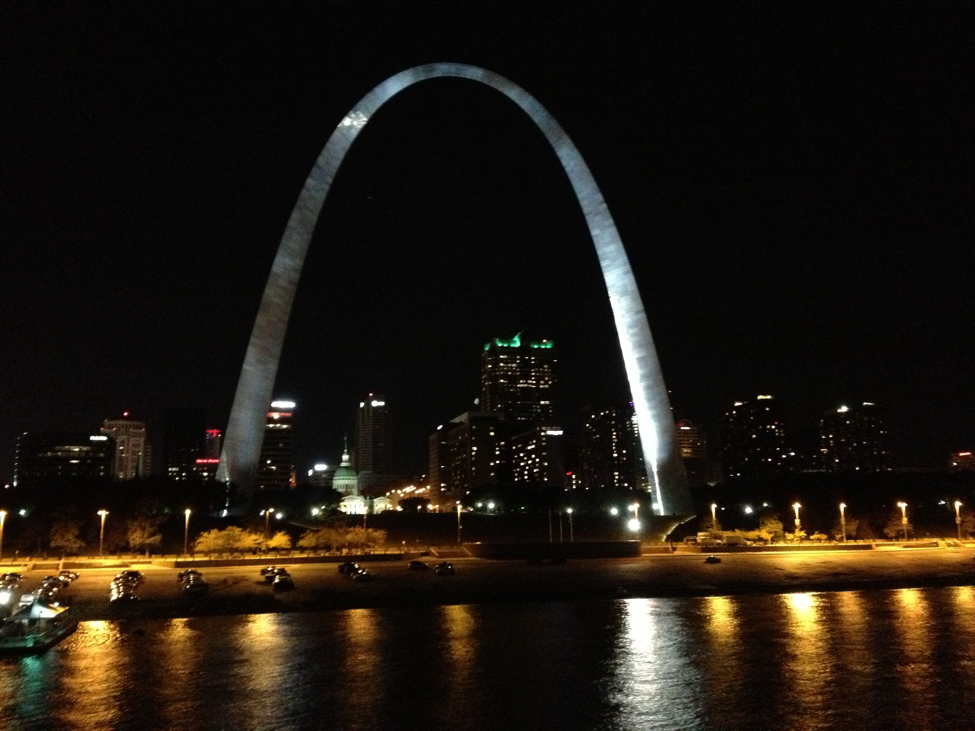 The view of the St Louis arch from onboard the American Queen