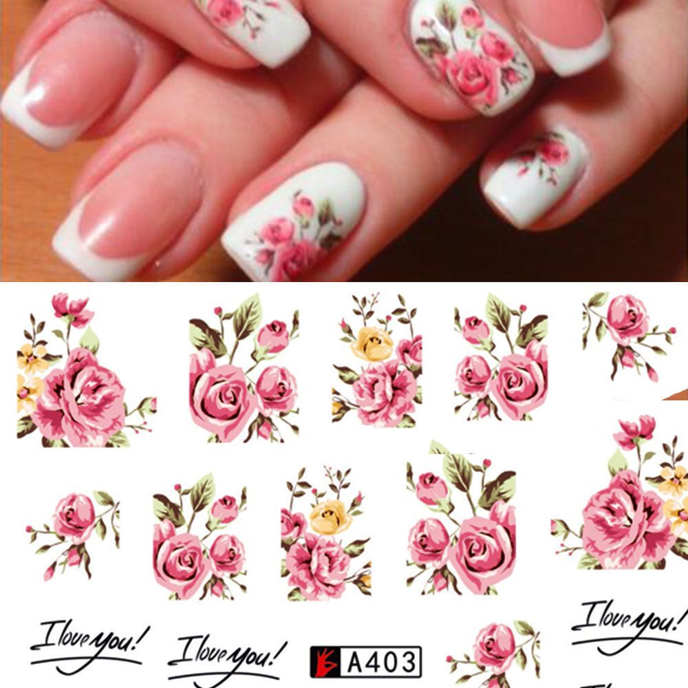 Details About Fashion Nail Art Stickers Transfer Wrap Water