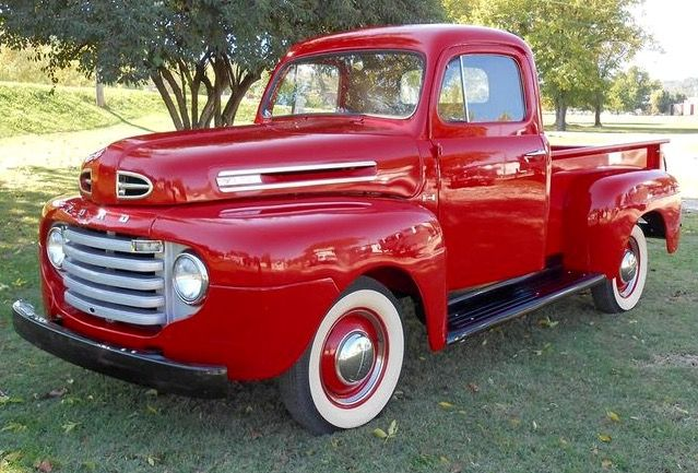 Red 1950 Ford F 1 Pickup With Images Classic Cars Trucks
