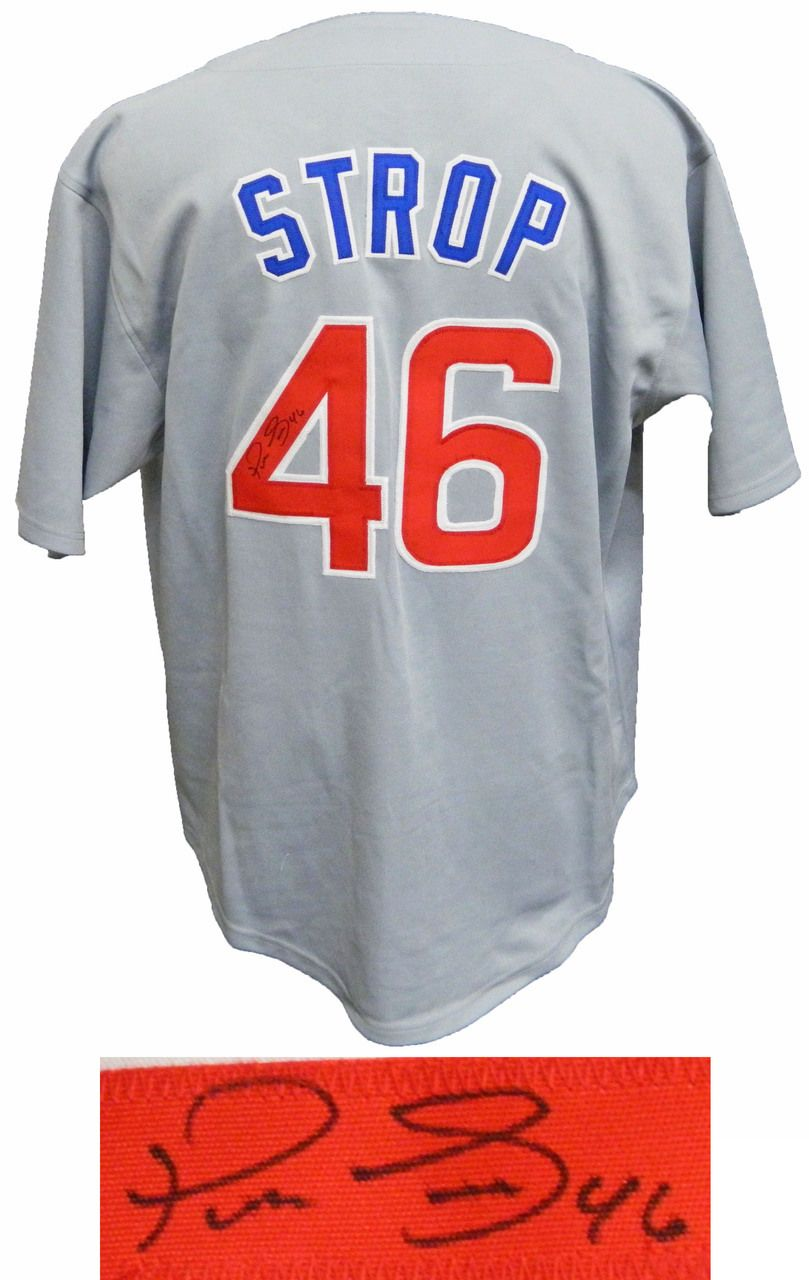 new styles 99b93 8e305 Pedro Strop Signed Grey Custom Jersey - Schwartz COA ...