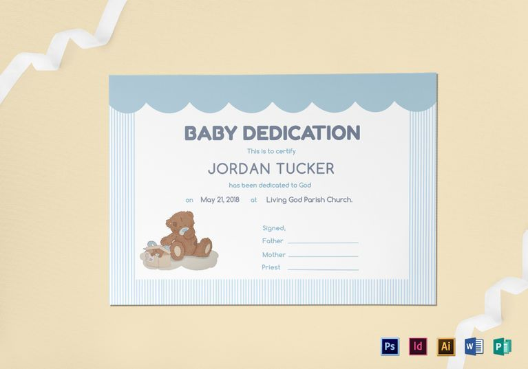 Baby Dedication Certificate Template  Formats Included  Ms
