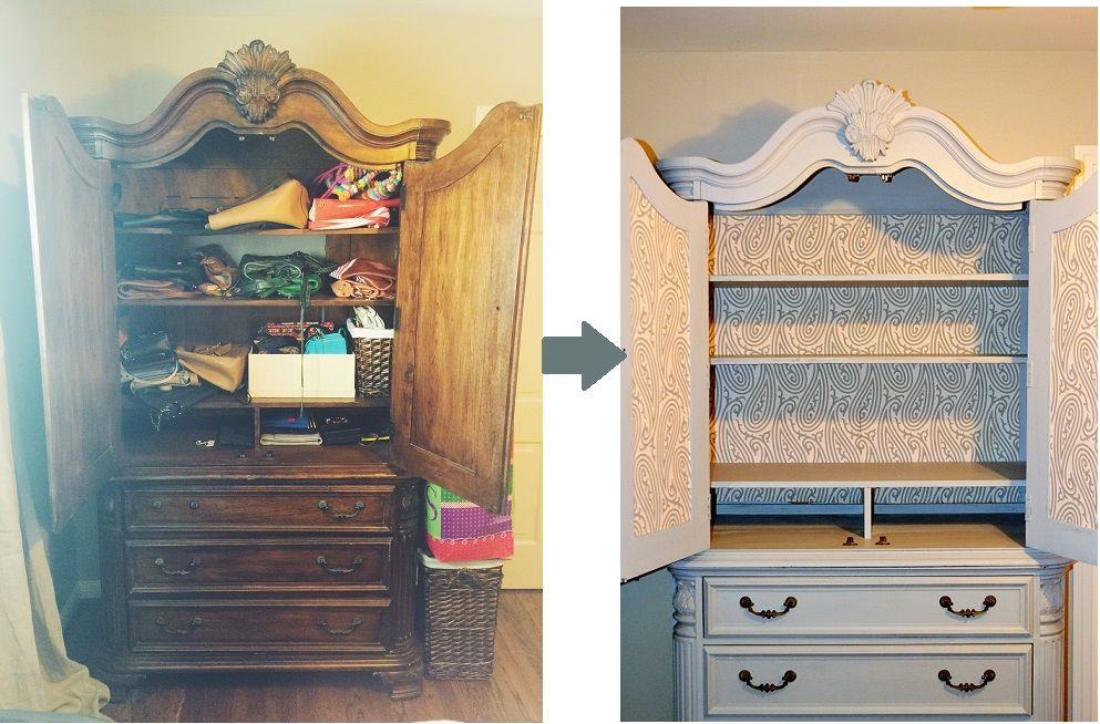 Caroline Harper Knapp from 'House of Harper' made this breathtaking change to a tired old wardrobe using Paisley BP 4706 wallpaper