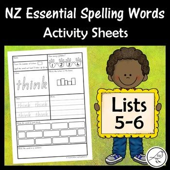 New Zealand Essential Spelling Words Activity Sheets For Lists 5 6 Spelling Word Activities Spelling Words Word Activities