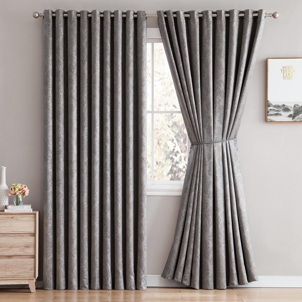 Warm Home Designs Embossed Textured Blackout Energy Efficient Silver Grey Curtains In 12 Sizes Curtains Charcoal Walls Silver Grey Curtains