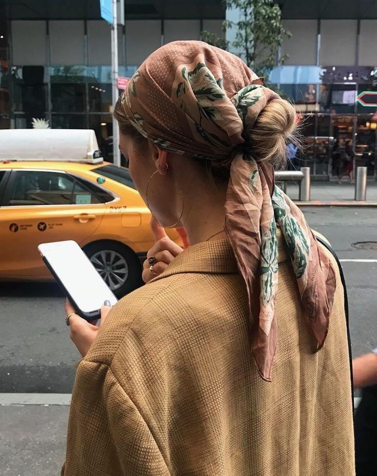 Bun wrapped in a scarf. Scarf hair ideas. Trendy hair ideas.