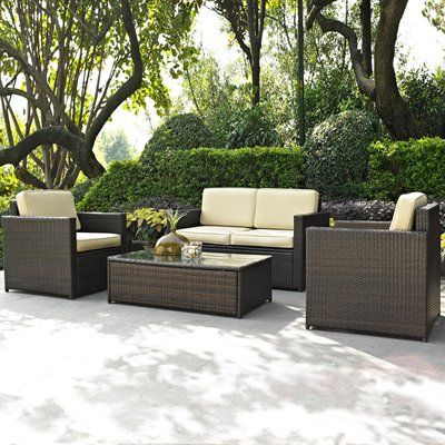 Crosley Furniture KO70001BR Palm Harbor 4-Piece Outdoor Seating Set ...