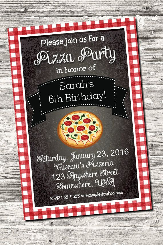 Red Gingham Pizza Party Pasta Party Birthday Invitation Digital ...