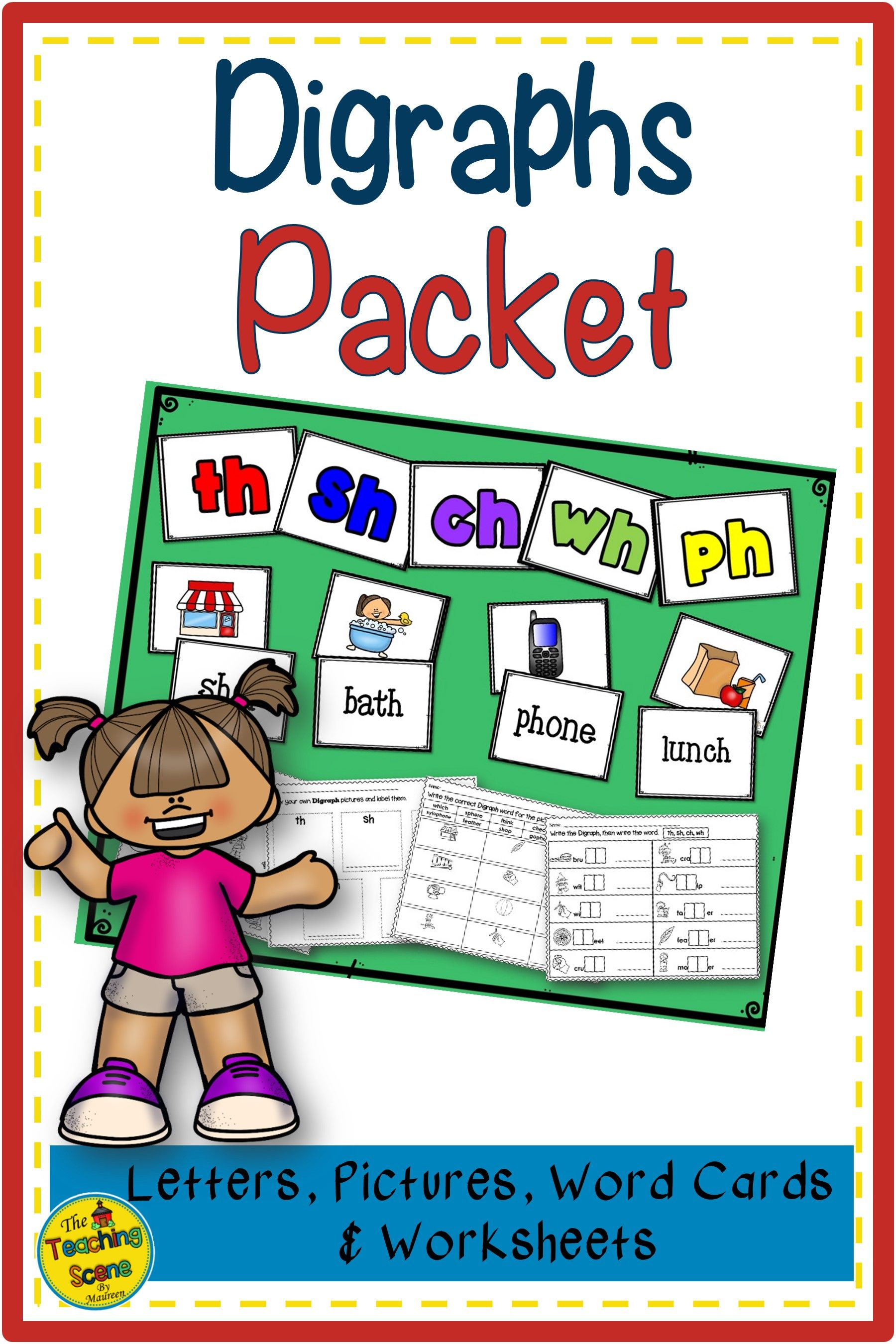 Digraph Packet Th Sh Ch Wh Ph Letters Pictures